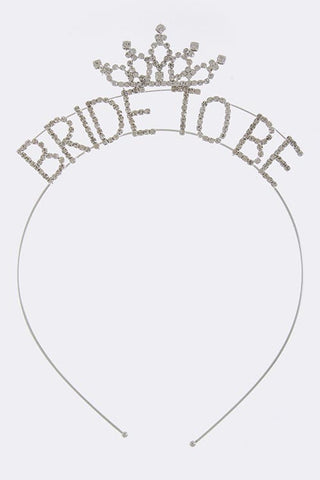 CRYSTAL LINED BRIDE TO BE HEADBAND - Color: Silver- :