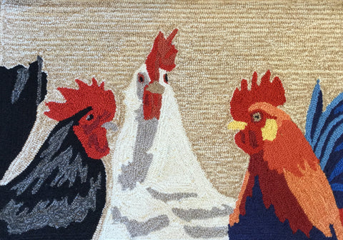Front Porch Barnyard Roosters Door Mat Indoor/Outdoor