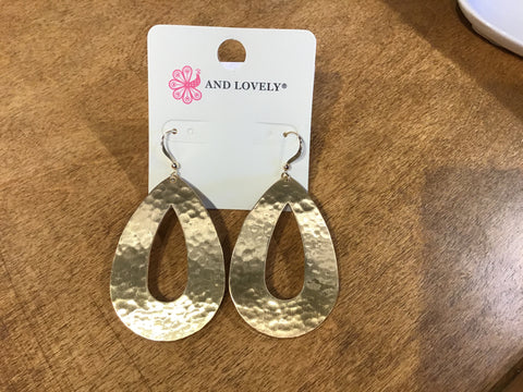 Satin Gold Hammered Pear Shape Earrings