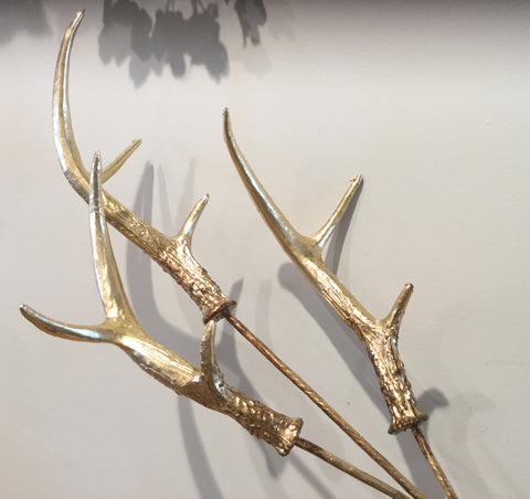 Large antler pick spray in three finishes, antique gold antique silver and white glitter.
