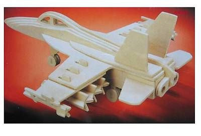 USD - DIY Wooden Toy : F-18 Hornet Bomber 3D PUZZLE WOOD CRAFT CONSTRUCTION KIT