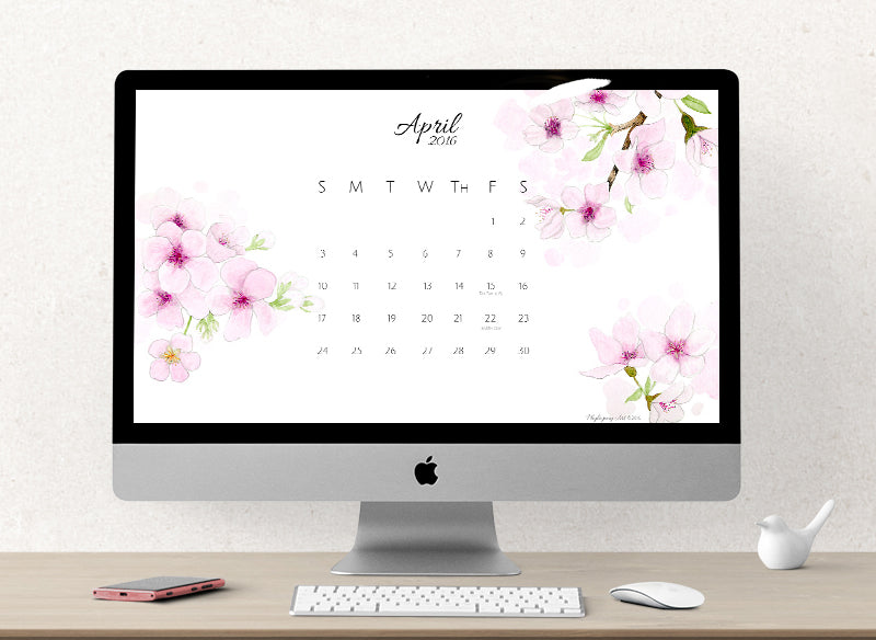 Phylogeny Art Free Calendar download cherry blossom watercolor april 2016