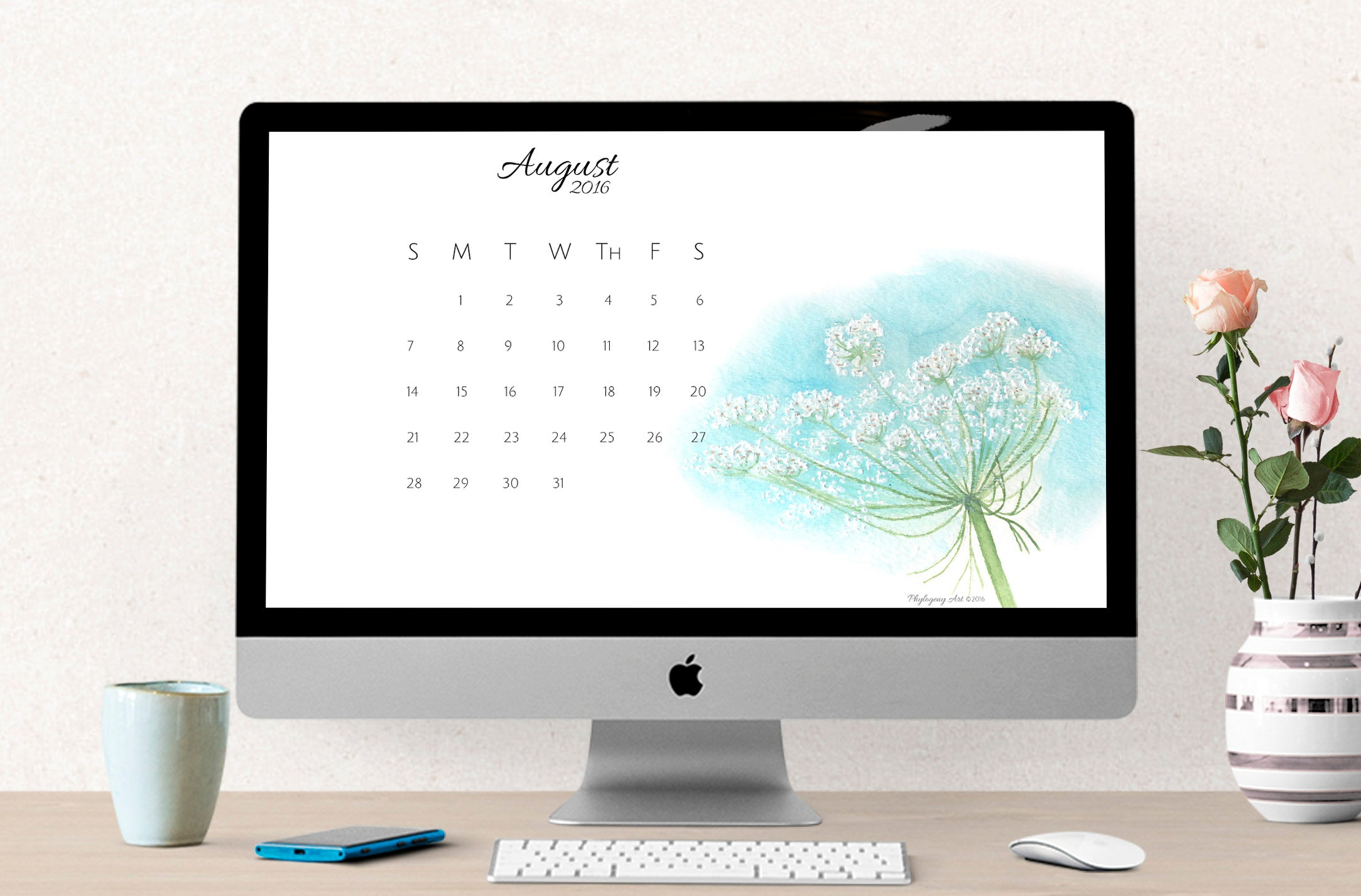 August 2016 Watercolor Desktop calendar download Phylogeny Art