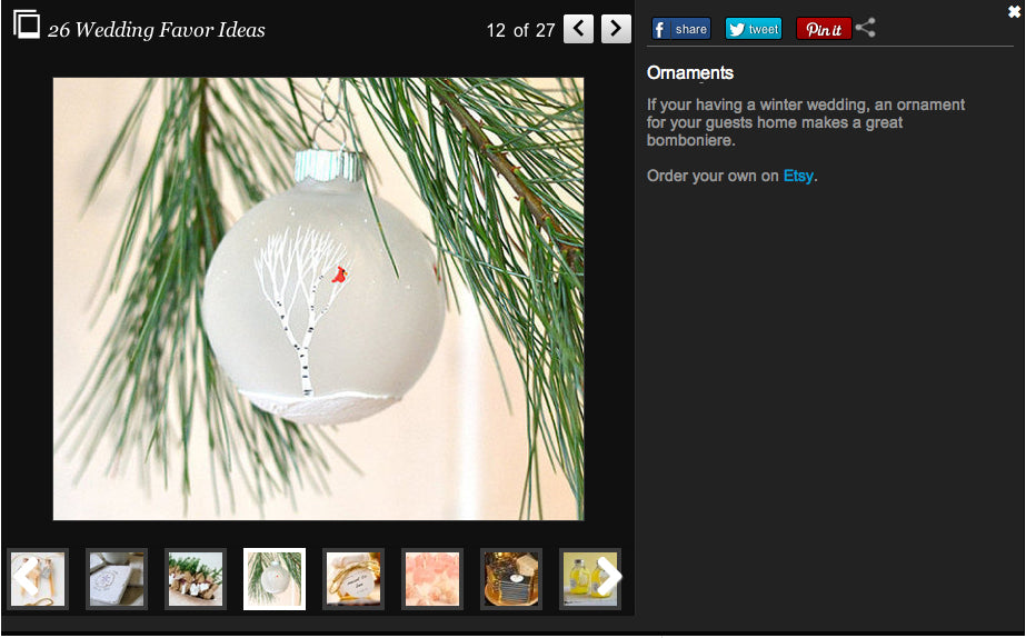 Hand Painted Ornament Huffington Post Wedding Article