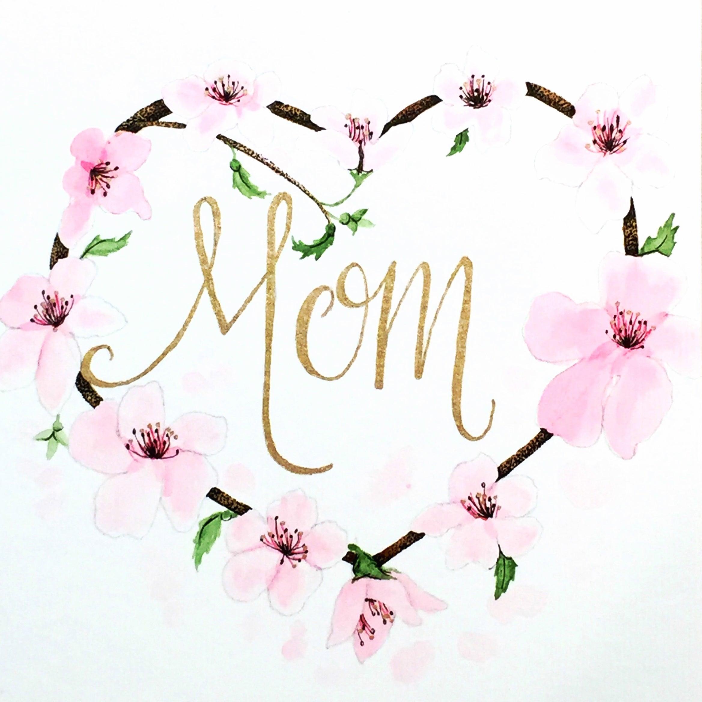 Mothers Day Watercolor Wreath Phylogeny Art