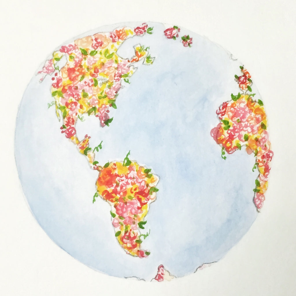 Earth Laughs in Flowers Original Watercolor by Phylogeny Art