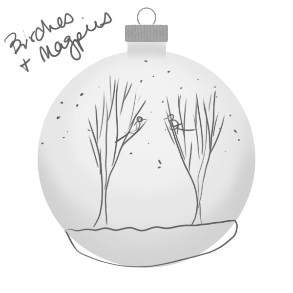 Rocky Mountain Birch Magpie Ornament Sketch