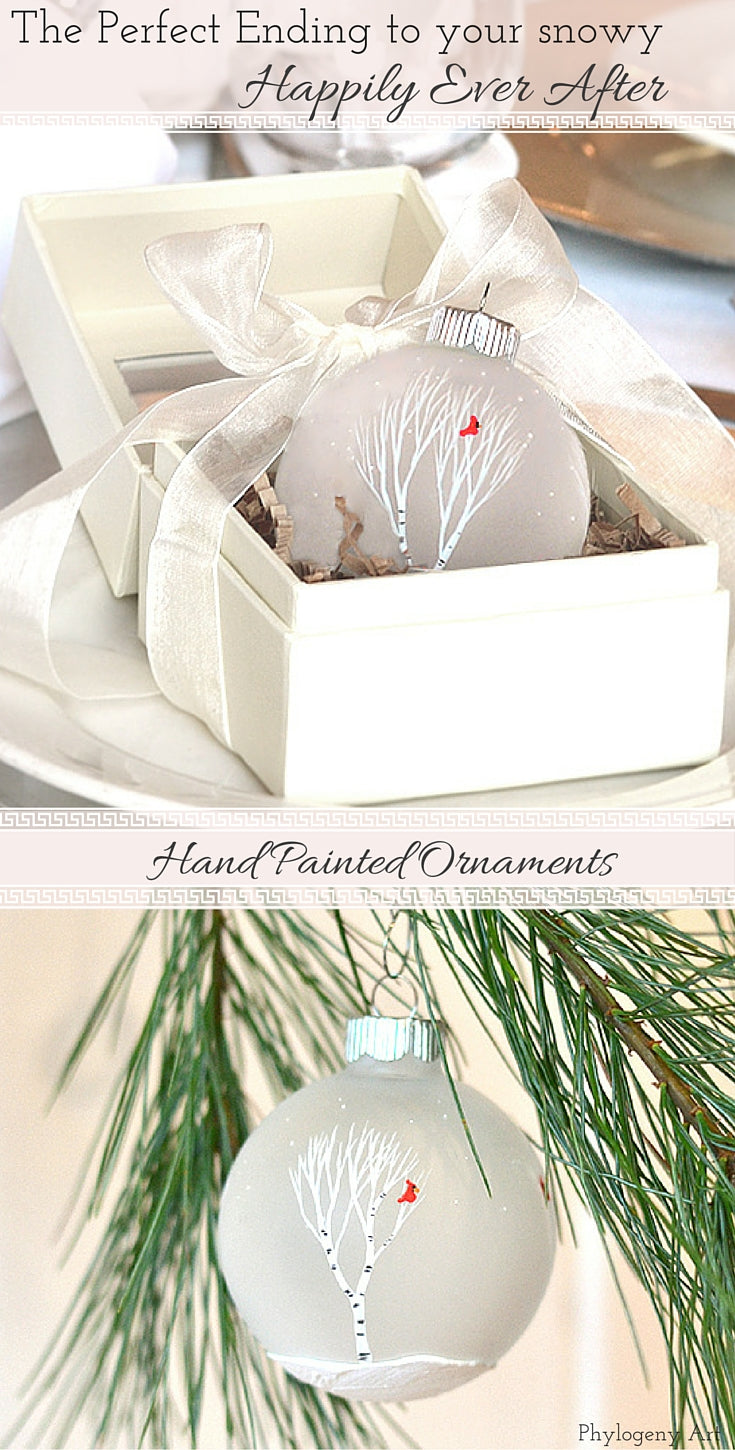 Winter Wedding Ornaments by Phylogeny Art