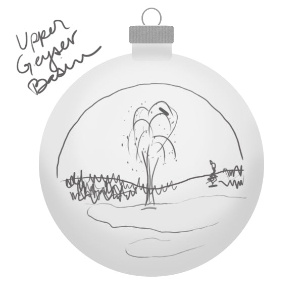 Yellowstone Upper Geyser Basin Ornament Sketch