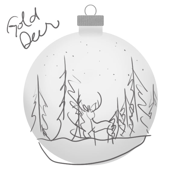 Rocky Mountain Gold Deer Ornament Sketch