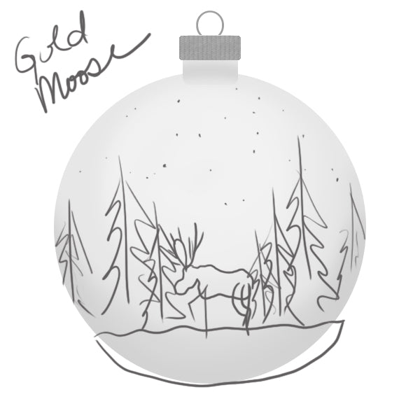 Yellowstone Gold Moose Ornament Sketch