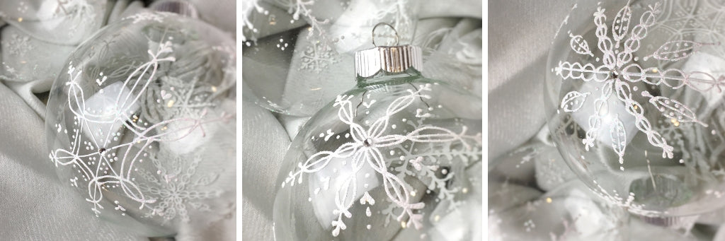 snowflake ornaments hand painted on clear glass