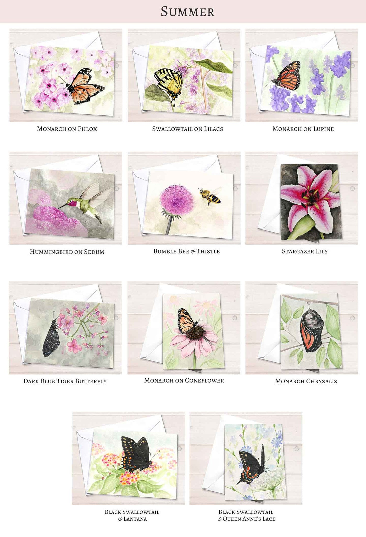Summer Butterfly Wildflower Stationery