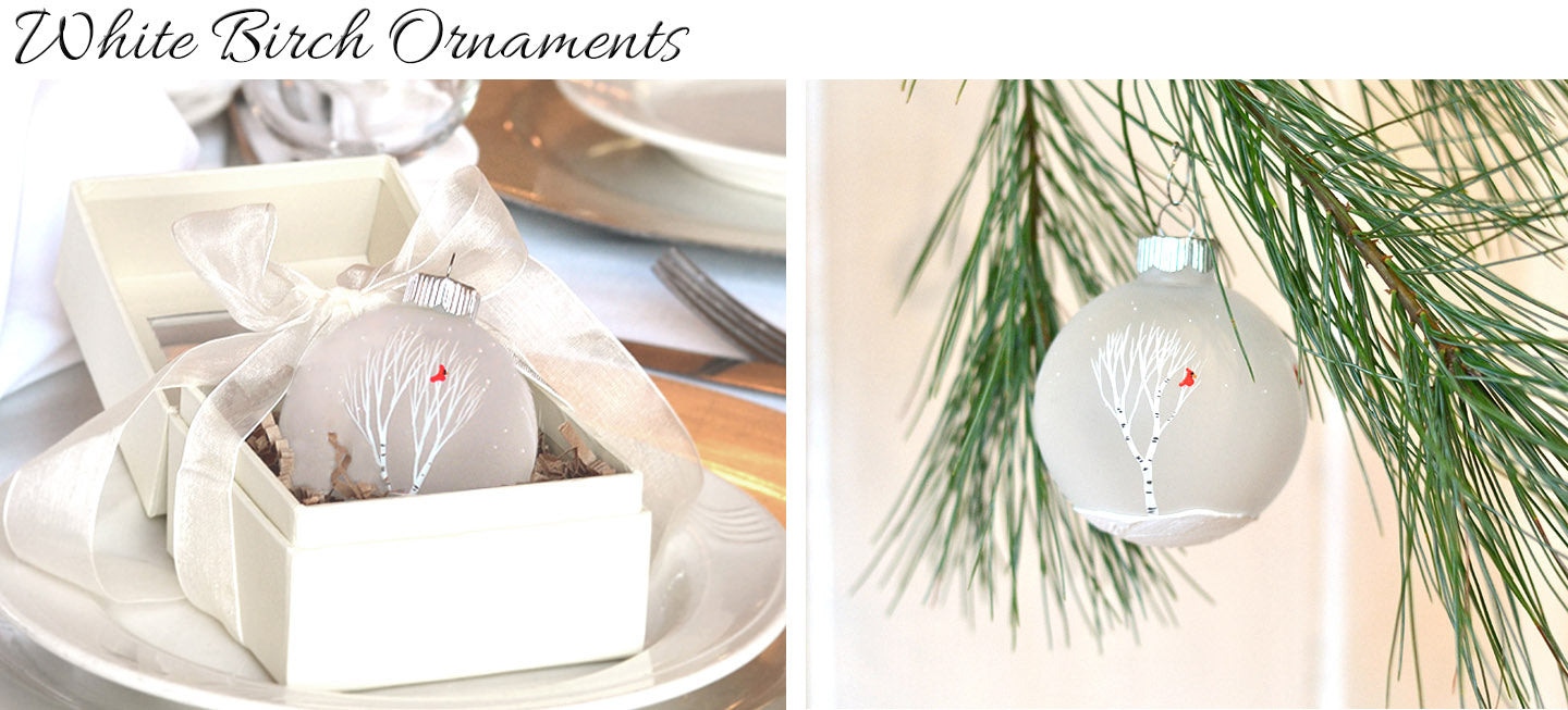 Hand Painted Ornaments White Birch Ornaments Phylogeny Art