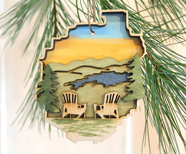 Adirondack Park Chairs Ornament