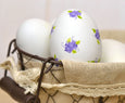 Painted Purple Calico Ceramic Egg