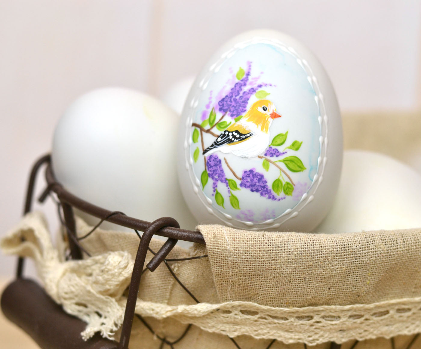 Handpainted Goldfinch Ceramic Egg