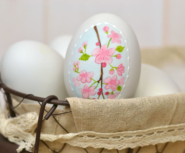 Painted Cherry Blossom Ceramic Egg