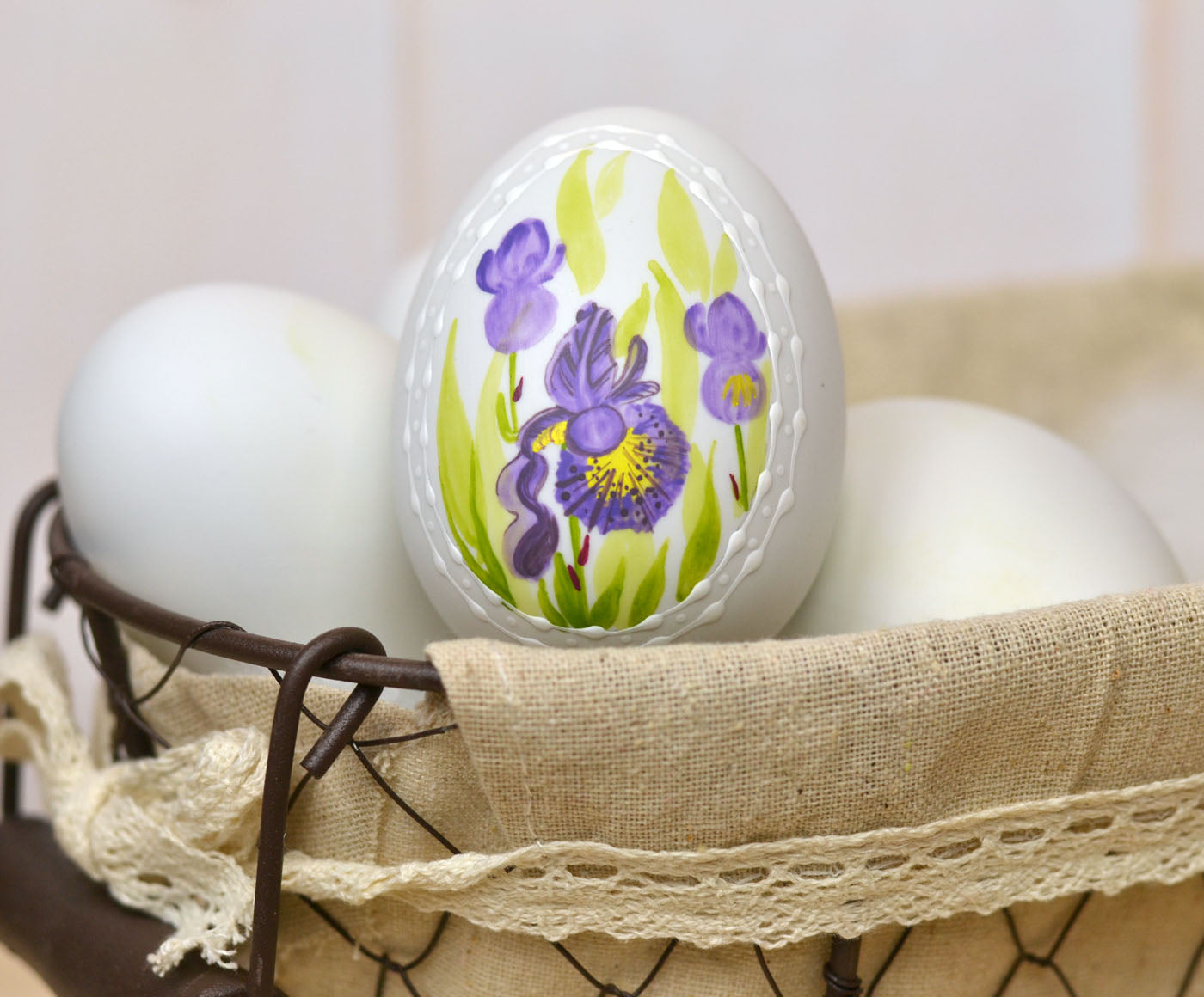Purple Iris Ceramic Egg