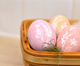 Handpainted Pastel Wooden Eggs with White Flowers