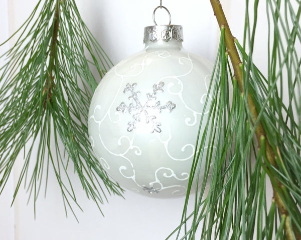 White Nordic snowflake Christmas ornament