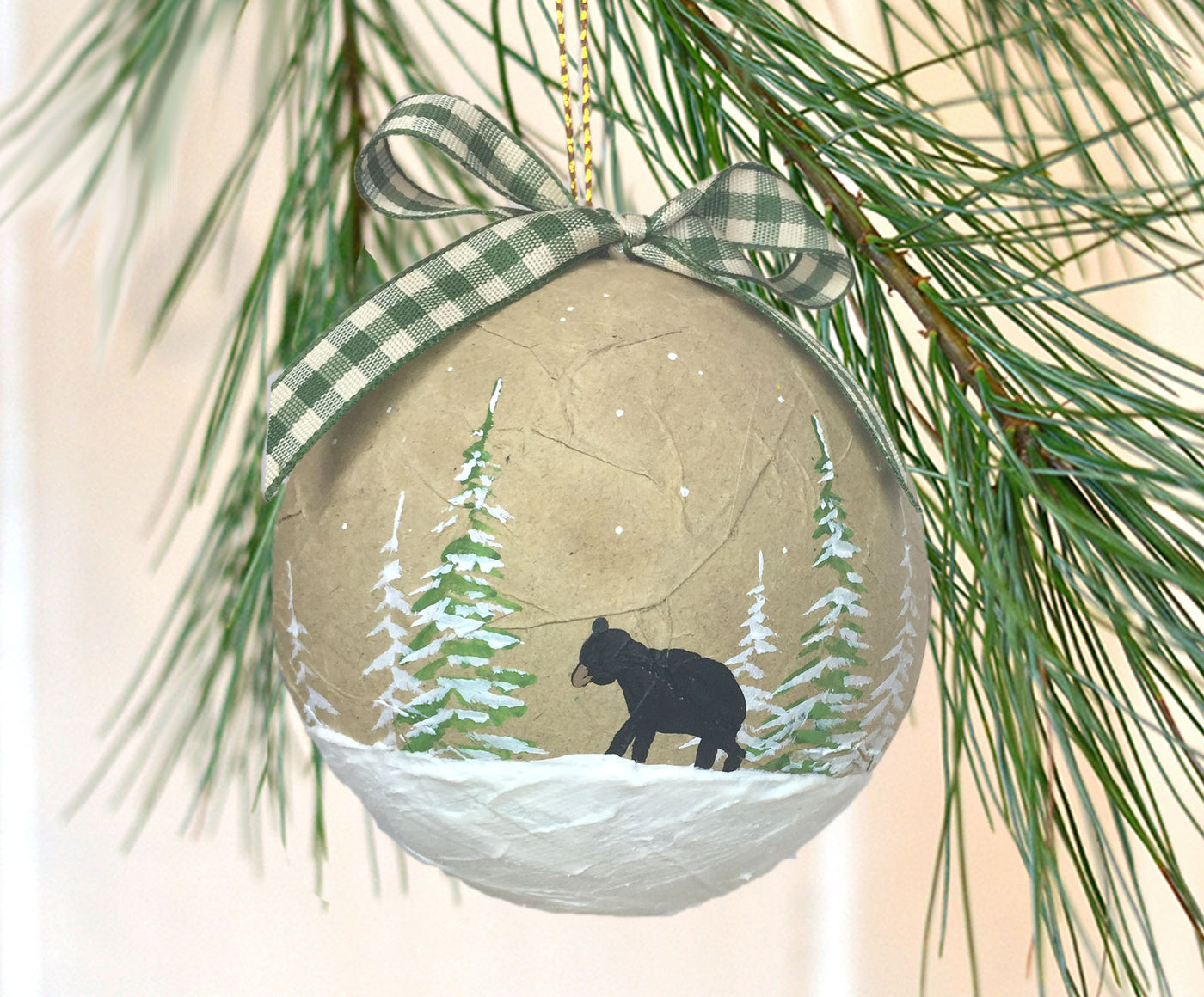 Black Bear Paper Mache Ornament