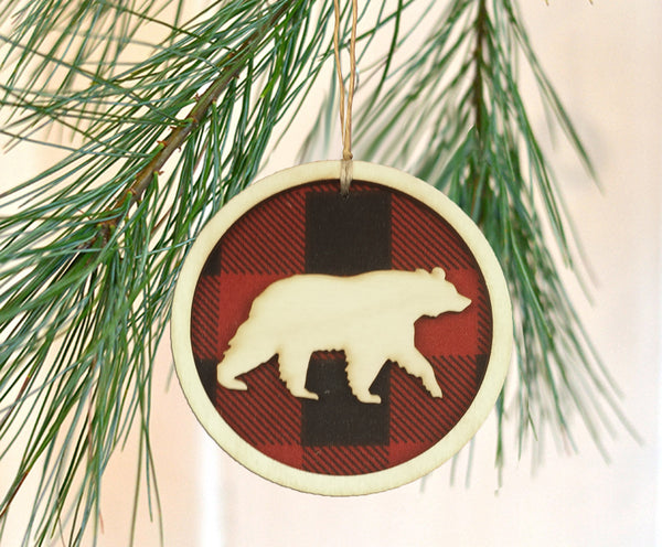 Buffalo Check Plaid Animal Ornament Set