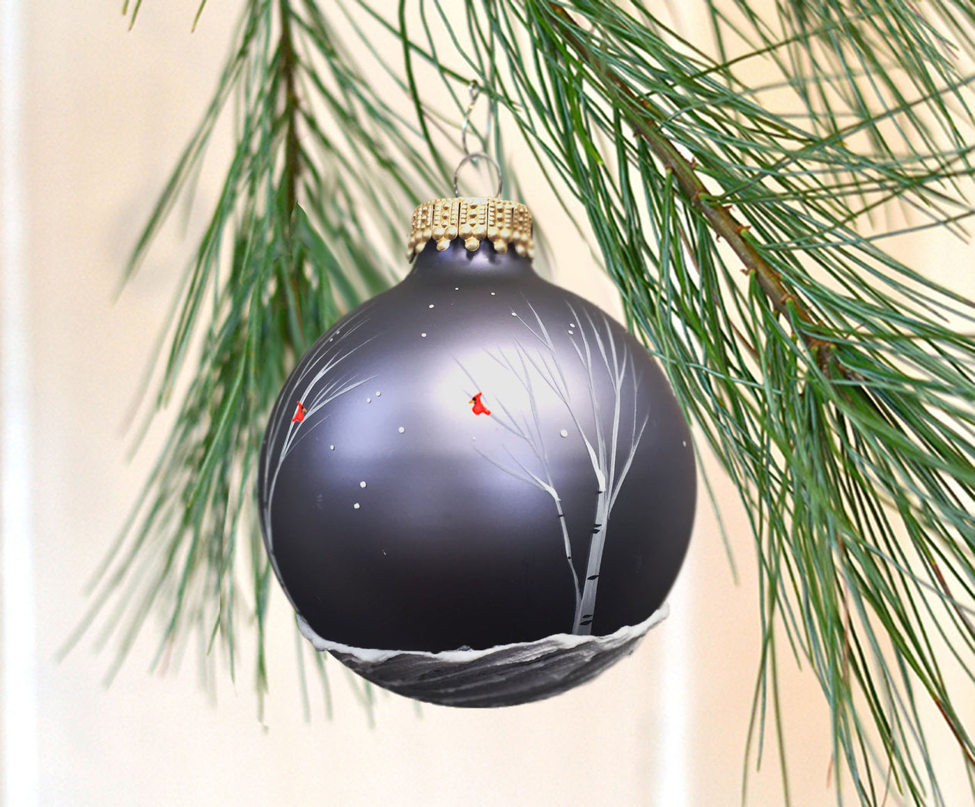 Slate Blue Birch Cardinal Ornament