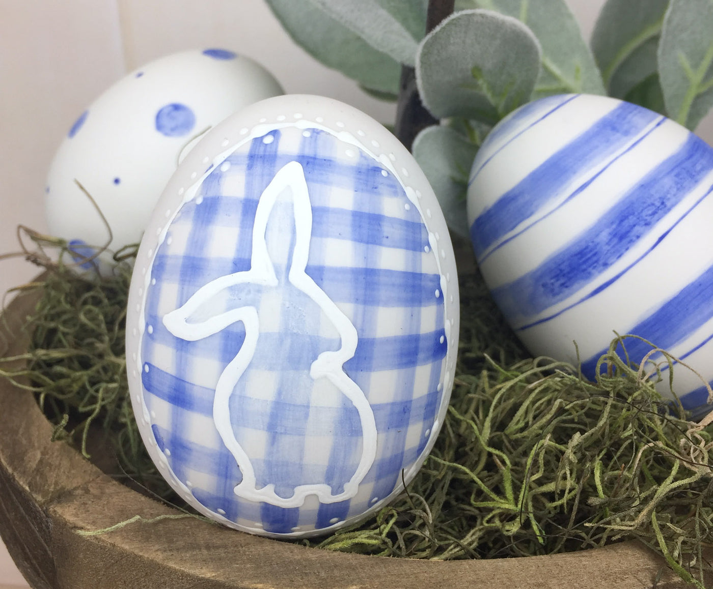 Blue Easter egg set Ceramic Eggs