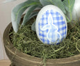 Blue Plaid Ceramic Easter Egg
