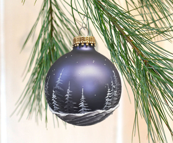 Slate Blue Pine Forest Ornament