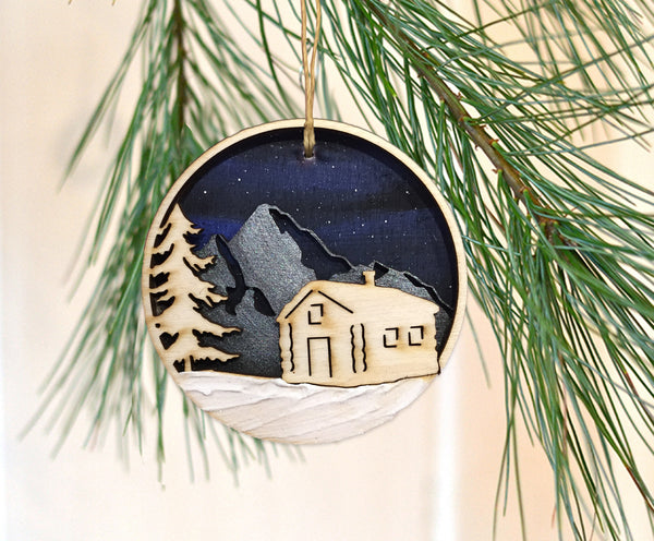 Wooden Cabin Ornament