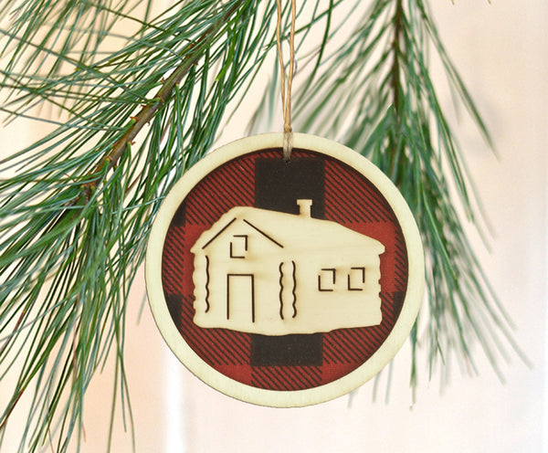 Buffalo Check Plaid Cabin Ornament