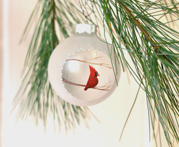 hand painted Christmas Cardinal ornament