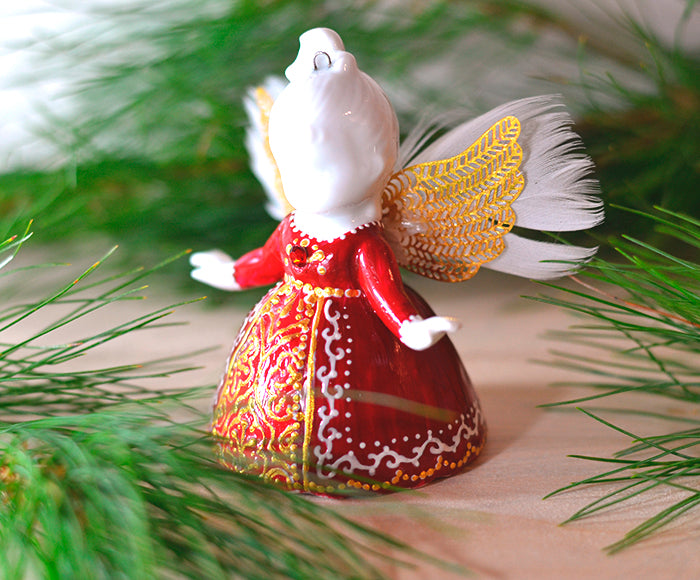 Hand painted porcelain Christmas angel figurine ornament
