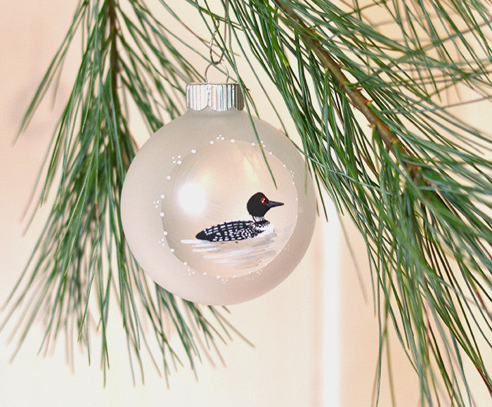 Hand painted Loon ornament for country Christmas