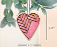 pink herringbone heart ornament