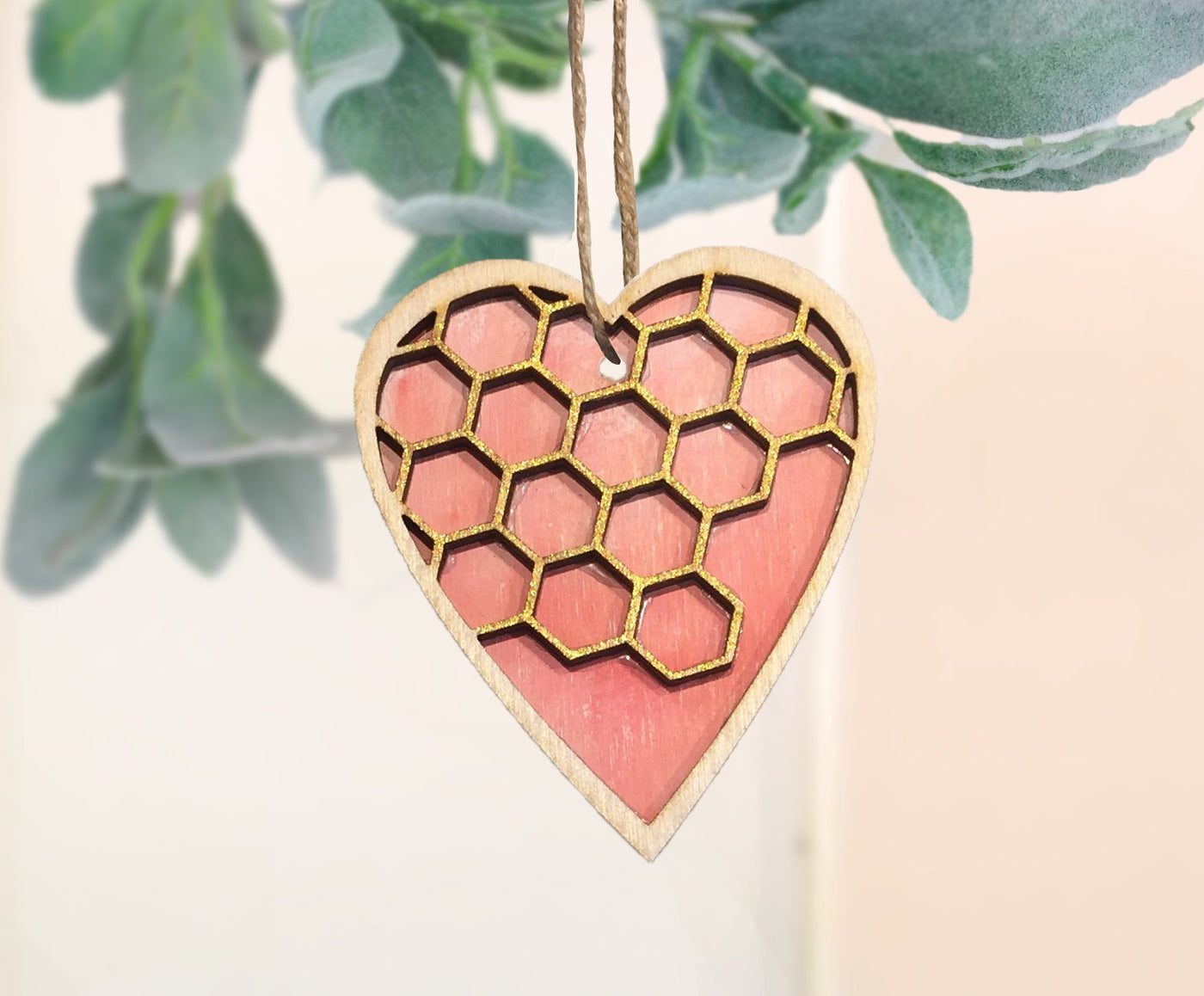 Bee hive heart ornament