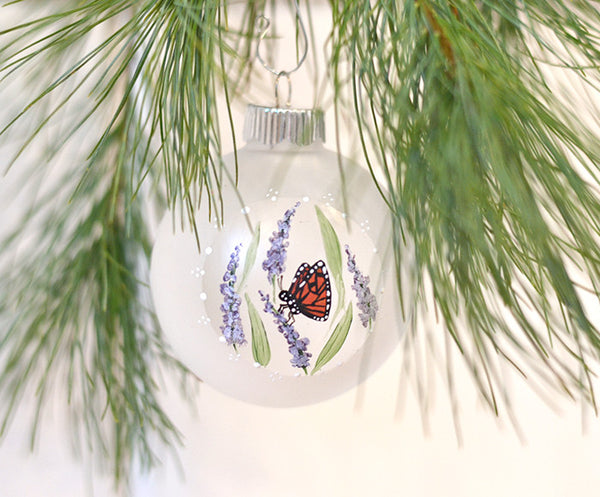 Monarch butterfly ornament hand painted with purple flowers