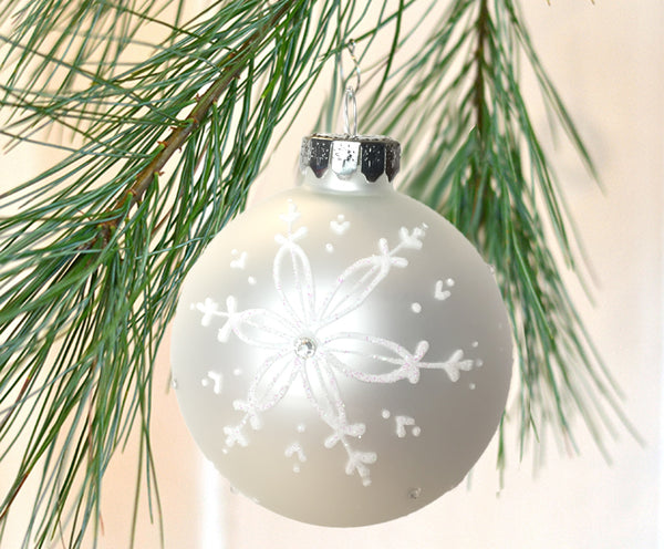 White glass ball snowflake ornament Christmas