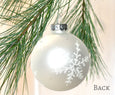 Hand painted snowflakes on glass ball ornament
