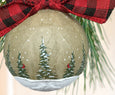 Rustic Country Christmas ornament paper mache with pine trees