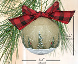 Sizing farmhouse christmas ornament with pine trees