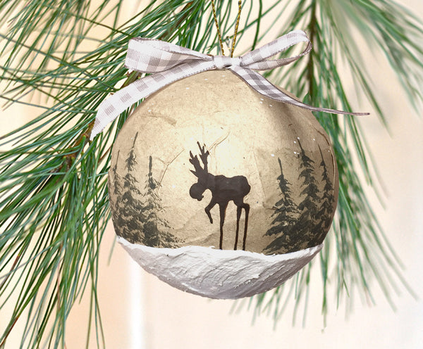 Rustic Moose Paper Mache Ornament