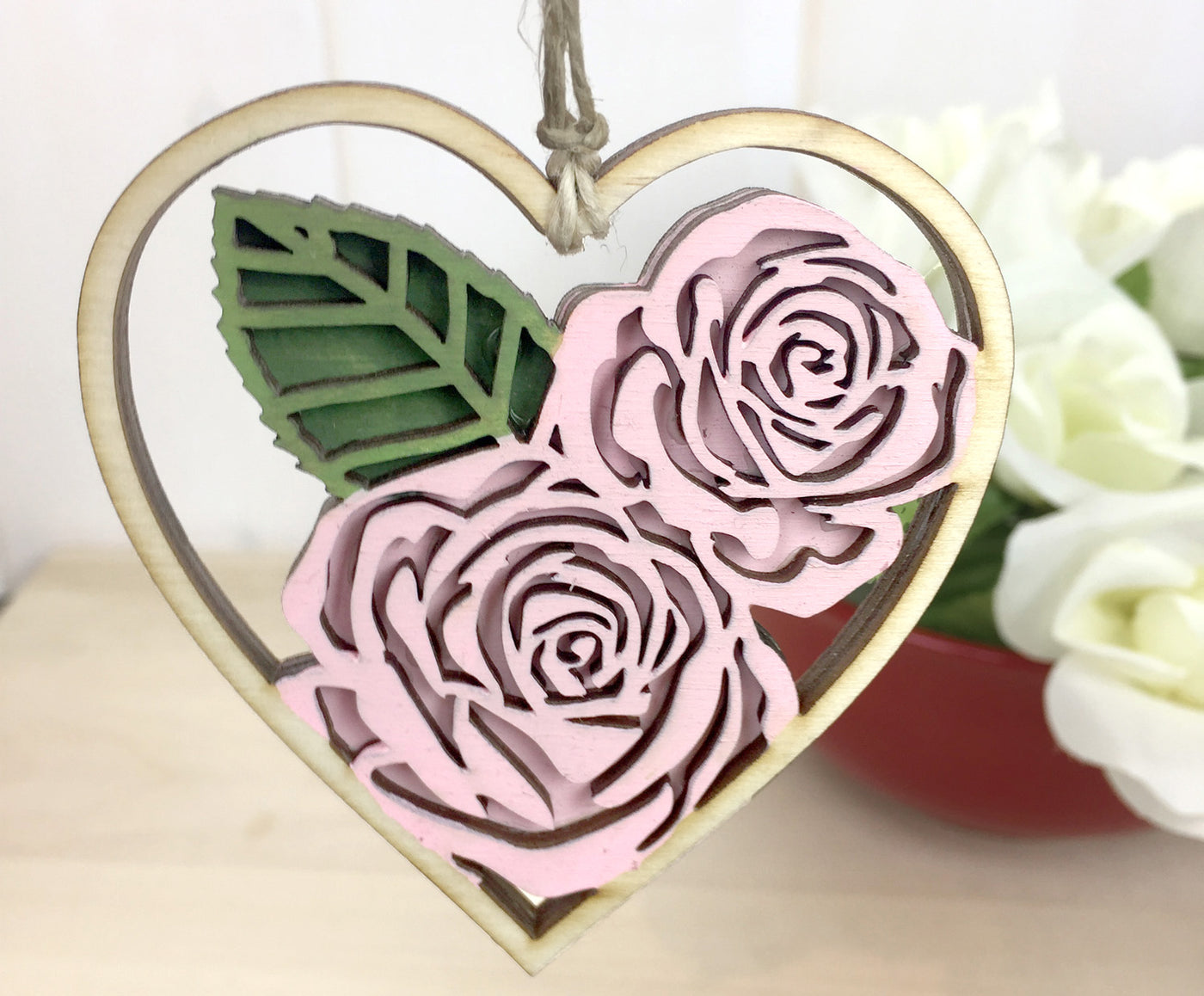 Pink Rose Heart Valentine Ornament Gift