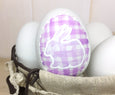 Purple Plaid Ceramic Easter Egg