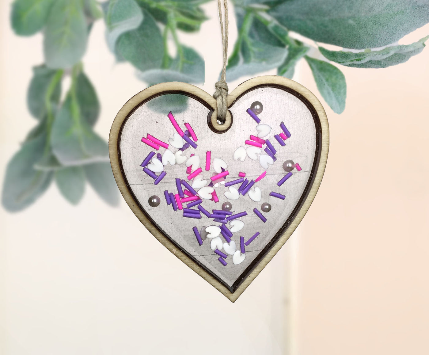 Purple Sprinkles Valentines Day resin Heart ornament