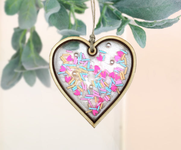 Sprinkles Valentines Day resin Heart ornament