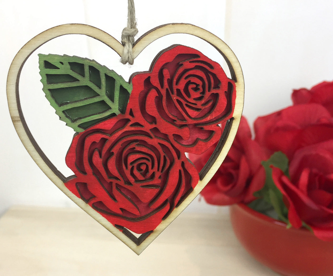 Red Rose Heart Valentines Day Ornament