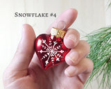 Nordic Heart Snowflake Christmas Ornaments - set of 4